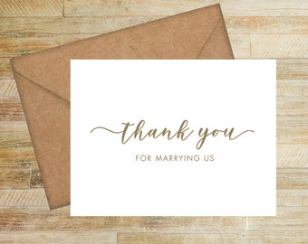 Wedding Officiant Card | Thank You for Marrying Us Card | PRINTED