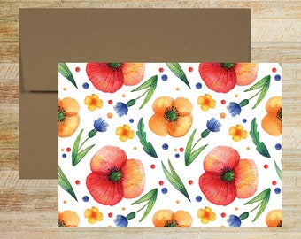 Floral Watercolor Note Cards | Set of 5 | Unique Stationery Gifts |  Yellow and Red Poppies Pattern Note Cards | PRINTED