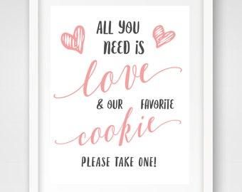 Our Favorite Cookie Wedding Favors Sign | 8 x 10 | Wedding Reception Sign | INSTANT DOWNLOAD