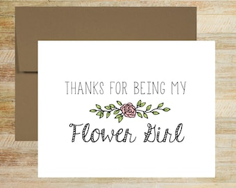 Thanks for Being My Flower Girl   Flower Girl Wedding Thank You Card   A2 size PRINTED