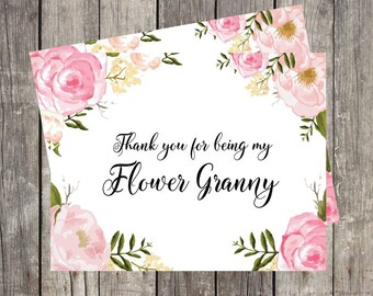Flower Granny Thank You Card | Floral Wedding Thank You Card| Card for Flower Girl | Bridal Party Thank You Card | PRINTED
