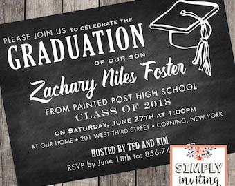 Class of 2020 Graduation Party Invitations | Set of 10 | Graduation Cap Chalkboard Invites | PRINTED