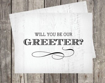 Will You Be Our Wedding Greeter Card | Greeter Proposal Card | Wedding Host Request Card | Rustic Wedding Greeter Card | PRINTED