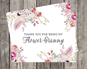 Flower Granny Wedding Thank You Card | Thank You for Being My Flower Granny | Floral Watercolor Wedding Card for Flower Girl | PRINTED