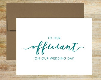 To Our Officiant on Our Wedding Day | Card For Officiant | Officiant Thank You Card | PRINTED