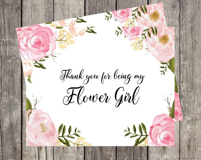 Thank You Card for Flower Girl | Pink Floral | Bridal Party Wedding Thank You Card | PRINTED