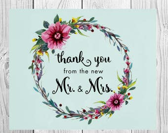 Floral Wreath - Wedding Thank You Card / Printed Cards, Stationery, Greeting Cards, The New Mr. and Mrs., Vintage, Flowers, Watercolors