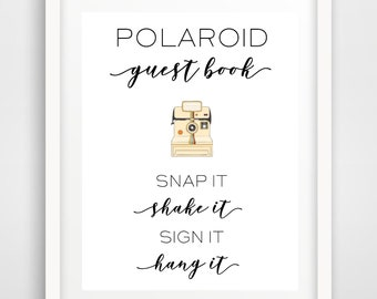Polaroid Guest Book Wedding Reception Sign   8 x 10 and 5 x 7   Party Printables   Guest Book Photo Sign   INSTANT DOWNLOAD