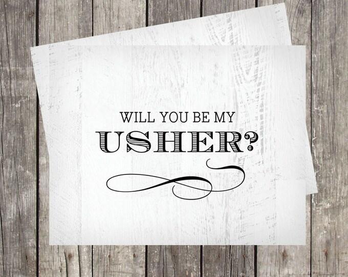 Will You Be My Usher Card | Card for Wedding Usher | Wedding Usher Proprosal Card | PRINTED