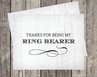 Thanks for Being My Ring Bearer | Card for Ring Bearer | Rustic Wedding Thank You Card | PRINTED
