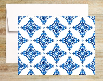 Venetian Blue Tile Note Cards | Set of 4 | Unique Stationery Gifts | Watercolor Tile Pattern 002 | PRINTED