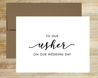 Usher Wedding Card | To Our Usher On Our Wedding Day | Usher On This Day Card | PRINTED