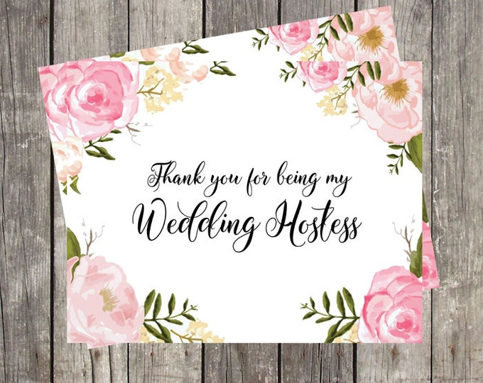 Thank You Card for Wedding Hostess | Pink Floral | Bridal Party Wedding Thank You Card | PRINTED