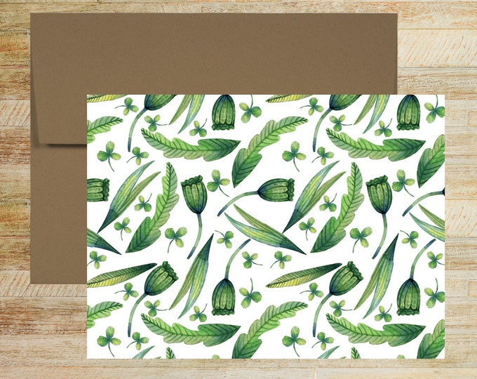 Fun Floral Note Cards | Set of 5 | Unique Stationery Gifts | Leaves and Floral Bud Pattern | PRINTED