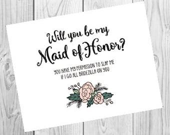 Will You Be My Maid of Honor Bridezilla Card | Funny Maid of Honor Proposal Card | Maid of Honor Funny Request Card | Fun Wedding Card