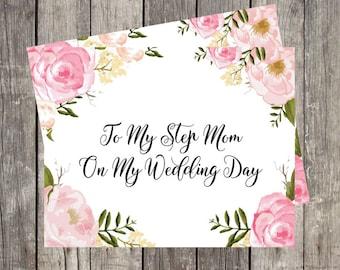 To My Step Mom on My Wedding Day   Wedding Card for Step Mom   Wedding Day Card for Mom of the Bride   Mother in Law Wedding Card   PRINTED
