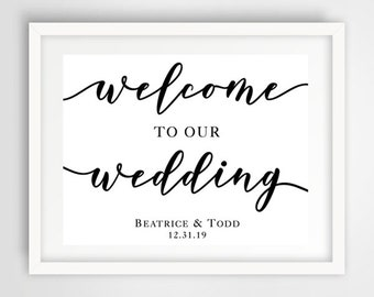 Welcome to Our Wedding Sign | Ceremony Sign | Personalized Ceremony Sign | PRINTED or PRINTABLE FILE