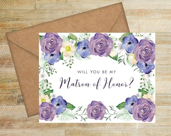 Matron of Honor Proposal Card | Purple and Navy Floral | Will You Be My Matron of Honor Card | PRINTED