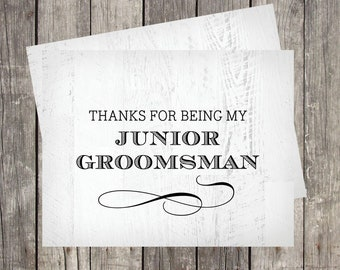 Junior Groomsman Thank You Card | Rustic Wedding Day Card | Thanks For Being My Junior Groomsman | PRINTED