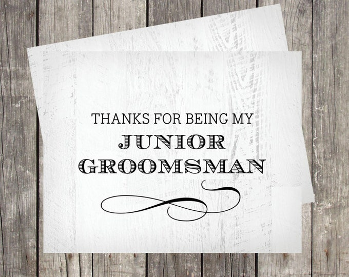 Thank You Card for Junior Groomsman | Wedding Party Thank You Card | PRINTED