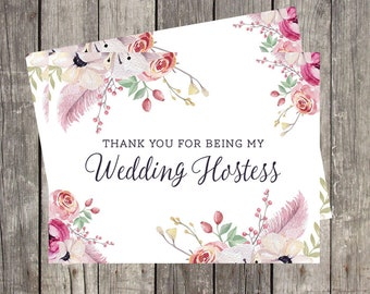 Wedding Hostess Thank You Card | Thank You for Being My Wedding Hostess | Floral Watercolor Wedding Thank You Card for Hostess | PRINTED