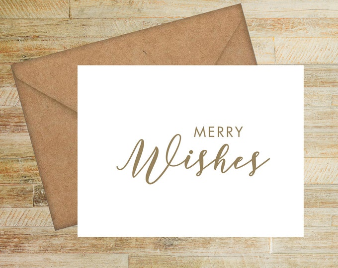 Merry Wishes Christmas Cards | Set of 10 | Seasons Greetings | Personalized Holiday Cards | PRINTED
