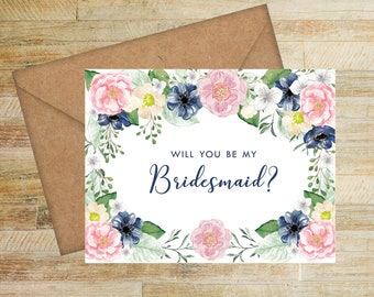 Bridesmaid Proposal Card | Pink and Navy Floral | Will You Be My Bridesmaid Card | Bridesmaid Box Card | PRINTED