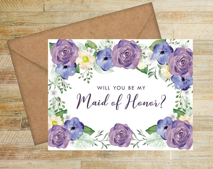 Will You Be My Maid of Honor Card | Maid of Honor Proposal Card | Purple and Navy Floral | PRINTED