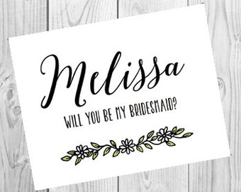 Personalized Will You Be My Bridesmaid Card |  Bridesmaid Proposal Card | Briday Party Ask Card | PRINTED