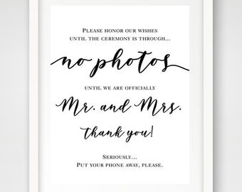 No Photos Mr. & Mrs. Wedding Sign | 16 x 20 | Wedding Ceremony Sign | INSTANT DOWNLOAD