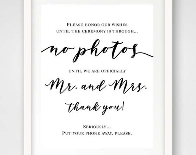 No Photos Mr. & Mrs. Wedding Sign | 16 x 20 | Wedding Ceremony Sign | INSTANT DOWNLOAD