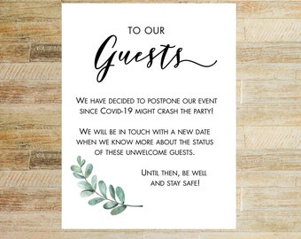 Party Postponement Card | Shower Cancellation Card | Wedding Reschedule Card | Card for Event Guests | INSTANT DOWNLOAD