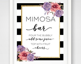INSTANT DOWNLOAD | Mimosa Bar 8 x 10 Sign | Gold Glitter Floral Bridal Shower Sign | Black and White Wedding | Party Cocktail Sign