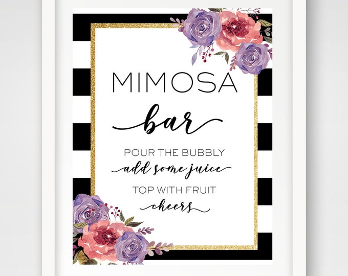 Featured listing image: INSTANT DOWNLOAD | Mimosa Bar 8 x 10 Sign | Gold Glitter Floral Bridal Shower Sign | Black and White Wedding | Party Cocktail Sign