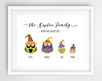 Halloween Owls Family Wall Print | 11 x 14 Personalized Digital Art | Witch Owls Family Wall Print | Housewarming Gift | Halloween PRINTABLE