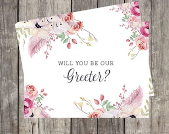 Will You Be Our Greeter Card | Wedding Greeter Proposal Card | Card For Wedding Greeter | Wedding Greeter Request Card | PRINTED