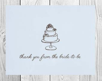 Bridal Shower Thank You Cards | Set of 10 | Blue Bride to Be Note Cards | PRINTED