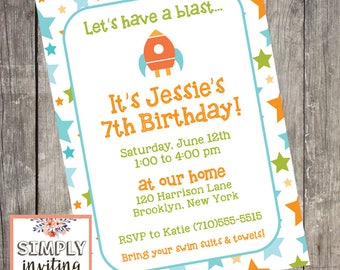 Blast Off Birthday Party Invitation | Set of 10 | Matching Thank You Cards | PRINTED
