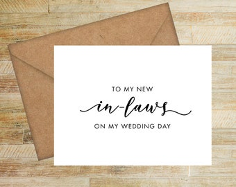 To My New In-Laws on My Wedding Day | Card For Parents of the Bride | Parents of the Groom Card  | PRINTED