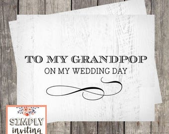 Wedding Day Card for Grandpop   Wedding Card for Pop-Pop   Wedding Card for Grand-Dad   Grandfather Wedding Day Card   PRINTED