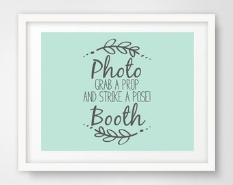 Photo Booth Wedding Sign   8 x 10 and 5 x 7 Sizes   Mint Green and Slate Gray   Shower Printable   Non-Editable PDF Files   INSTANT DOWNLOAD