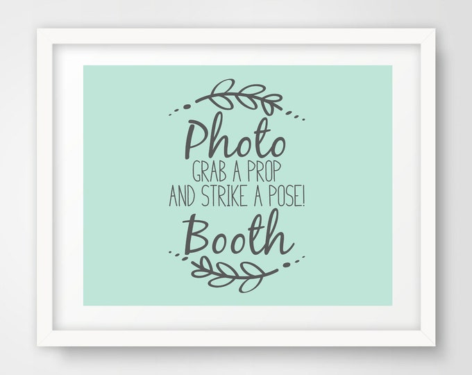 Photo Booth Wedding Sign | 8 x 10 and 5 x 7 Sizes | Mint Green and Slate Gray | Shower Printable | Non-Editable PDF Files | INSTANT DOWNLOAD