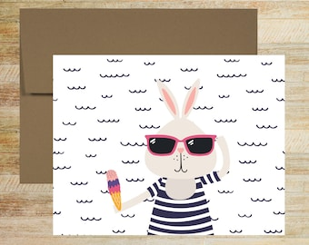 Summertime Animals Beach Blank Notes | Set of 4 | Stationery Cards for Kids | Unique Gifts | Summer Vacation Note Cards | PRINTED