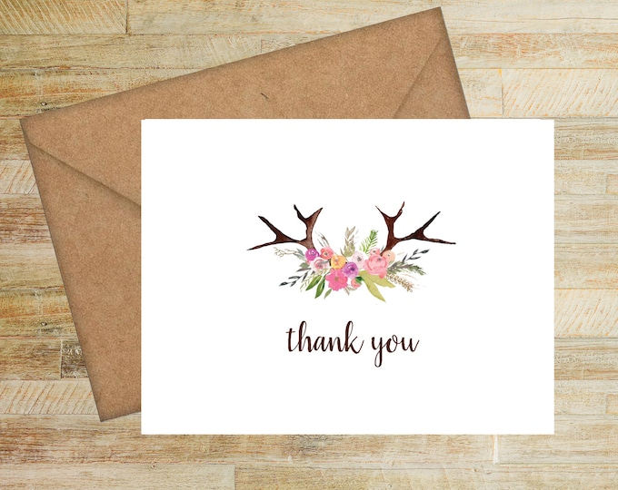 Floral Antlers Thank You Notes | Set of 10 | PRINTED