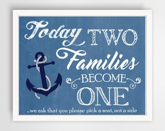 Nautical Theme Two Families Wedding Sign | 16 x 20 | Wedding Ceremony Sign | INSTANT DOWNLOAD