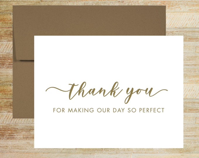 Thank You for Making Our Wedding Perfect | Thank You Card For Wedding Vendor | PRINTED