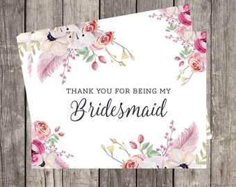 Thank You for Being My Bridesmaid Card | Thank You Card for Bridesmaid | Floral Watercolor Wedding Bridesmaid Card | PRINTED