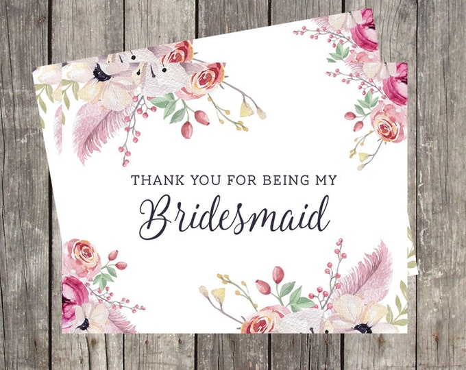 Thank You Card for Bridesmaid | Floral and Feathers | Bridal Party Wedding Thank You Card | PRINTED