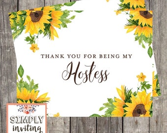 Wedding Hostess Sunflowers Thank You Card | Thank You for Being My Hostess Card | PRINTED