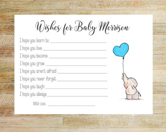 Heart Balloon Elephant Baby Shower Game Cards | Wishes for Baby Cards | Baby Predictions | Set of 10 | PRINTED
